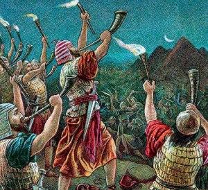 Toque de trompetas como anuncio de que el enemigo entró en el pueblo.